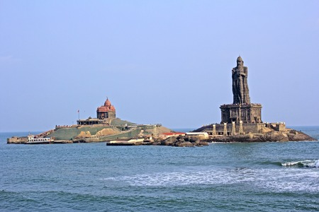 Memorial of Swami Vivekananda and sculpture of the ancient poet Thiruvallavar close to Kanyakumari Stock Photo