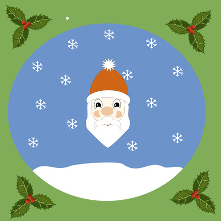 snowbank: Portrait of Santa Claus on a snow background
