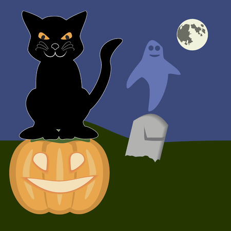 samhain: Moonshiny Halloween night with a pumpkin, black cat and ghost