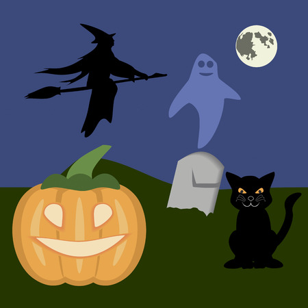 samhain: Moonshiny Halloween night with a pumpkin, black cat, flying witch and ghost
