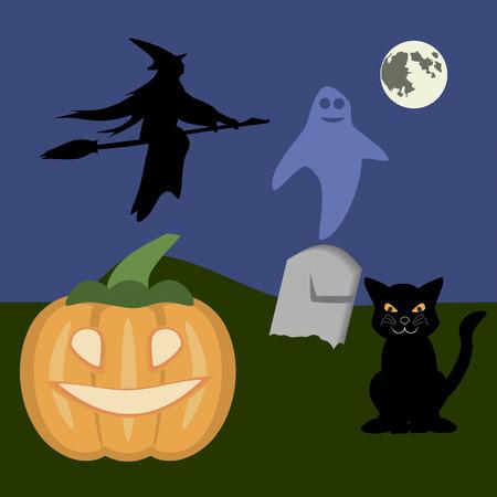 samhain: Noche Moonshiny Halloween con una calabaza, gato negro, bruja del vuelo y el fantasma