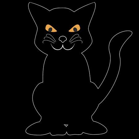 Black cat with orange eyes on the black background