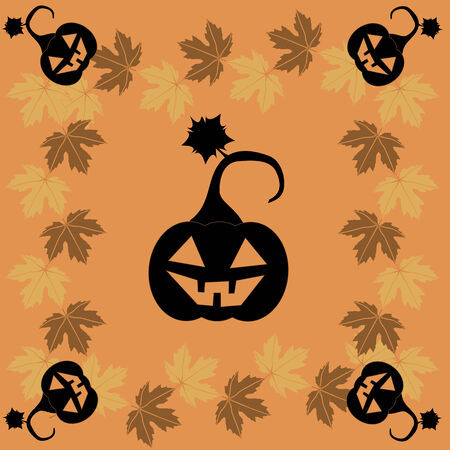 samhain: Halloween greeting card with an autumnal maple leaves and black pumpkin Illustration