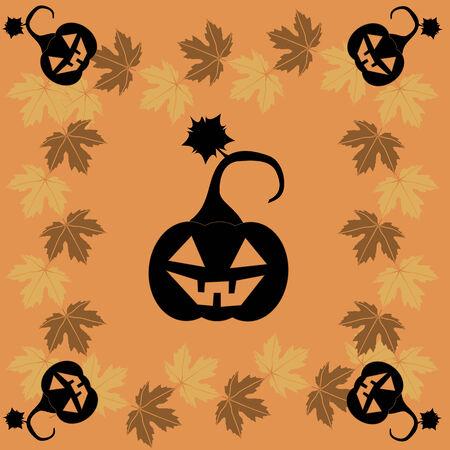 samhain: Tarjeta de felicitaci�n de Halloween con una hojas de arce del oto�o y la calabaza negro Vectores