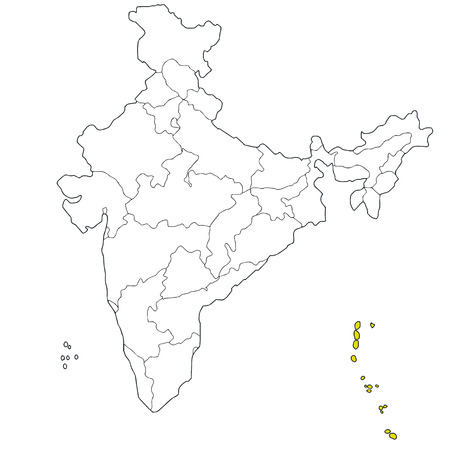 Union territory Andaman and Nicobar island on the map of India Vector