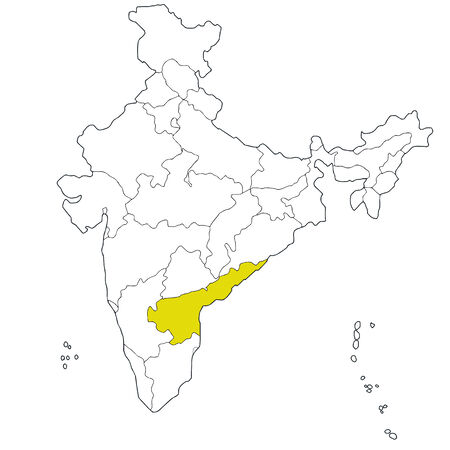andhra: South-eastern state Andhra Pradesh on the map of India