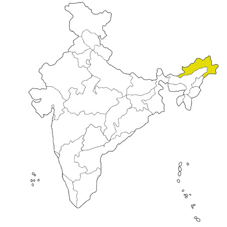 North-eastern state Arunachal-Pradesh on the map of India Illustration