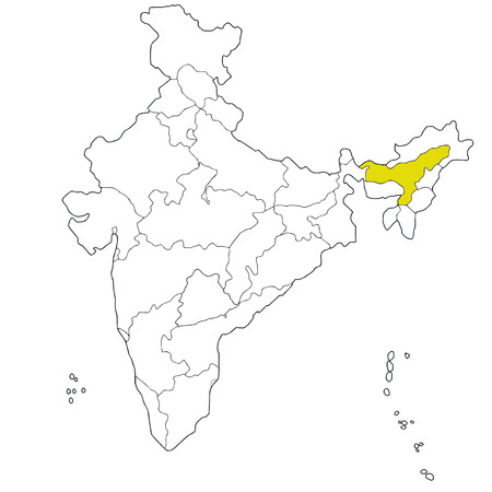 assam: North-eastern state Assam on the map of India