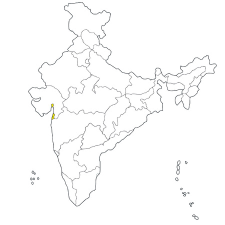 territory: Union territory Daman and Diu on the map of India