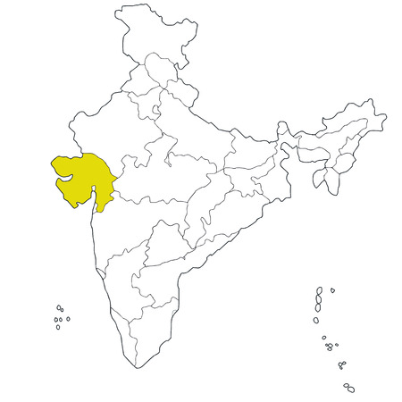 western state: Western state Gujarat on the map of India