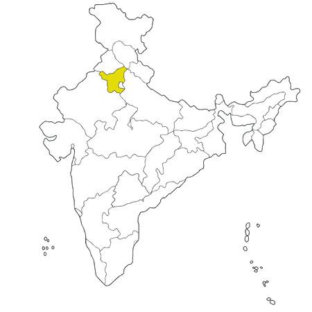 haryana: Northern state Haryana on the map of India