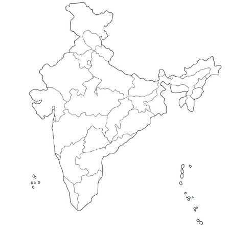 Outline map of the Republic India with the borders of the states and Union Territories, includes the new state Telangana