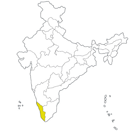 Southern State Map.Southern State Kerala On The Map Of India Royalty Free Cliparts