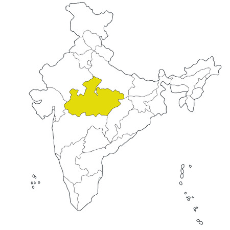 Central state Madhya Pradesh on the map of India