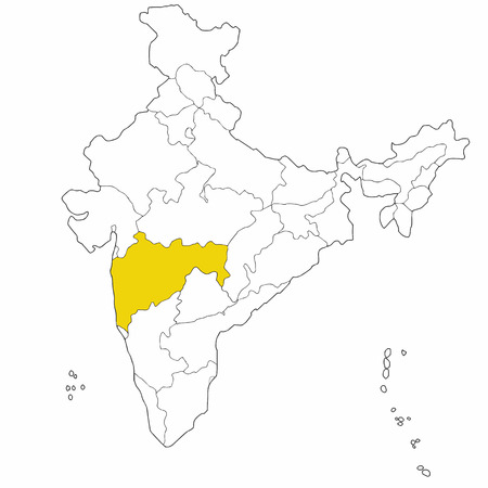 Westernl state Maharashtra  on the map of India Vector