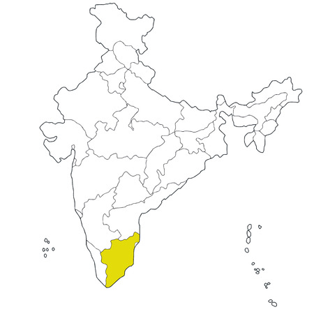 Southern state Tamil Nadu on the map of India