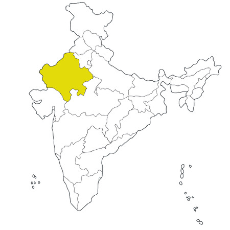 northwestern: North-western state Rajasthan on the map of India Illustration