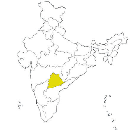 New South-eastern state Telangana on the map of India