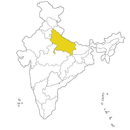 uttar: Northern state Uttar Pradesh on the map of India Illustration