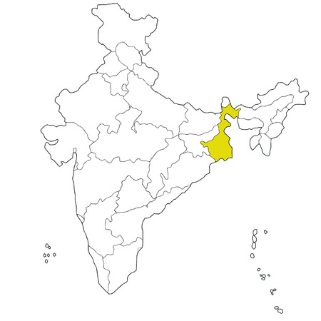 Eastern state West Bengal on the map of India Vector