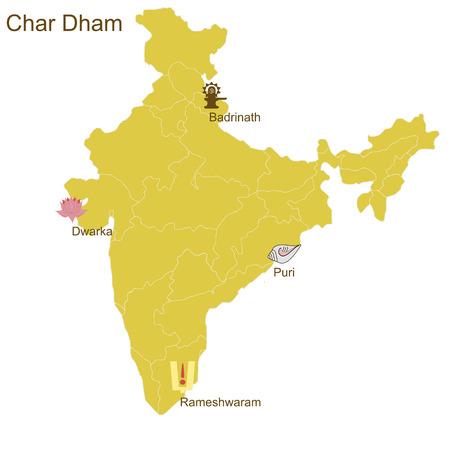 巡礼: Char Dham 4 つの最も重要なヒンズー教の行脚の場所 - 北バドリナート -、プリ東で、南ラメスワラム ドワールカ西のインドの地図  イラスト・ベクター素材