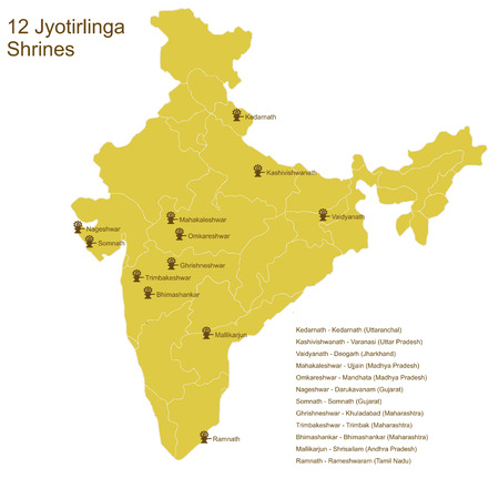 Twelve Jyotirlinga shrines, important Shaivite pilgrimage places, on the map of India Vector