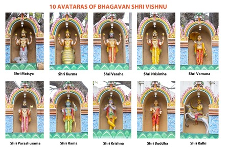 incarnation: Ten incarnations of Lord Vishnu. This collage based on the photos of the sculptures of the ten Avataras fron the small temple in Bangalore, Karnataka