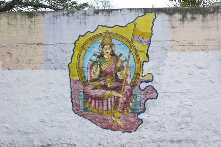 karnataka: 25 de febrero 2014, Bangalore, Karnataka, India - Graffiti en la pared, la presentaci�n de Karnataka Mata o Madre Karnataka