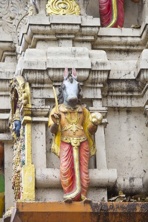 incarnation: FEBRUARY 25, 2014, BANGALORE, KARNATAKA, INDIA - Sculpture of Hayagriva, horse-headed incarnation of Vishnu, on the wall of the Hindu temple