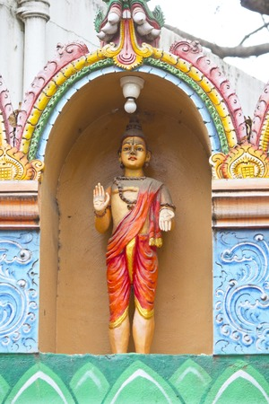 lord vishnu: FEBRUARY 25, 2014, BANGALORE, KARNATAKA, INDIA - Sculpture of Lord Buddha as the avatara of Lord Vishnu  on the wall of the Hindu temple