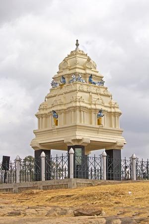 the founder: FEBRUARY 25, 2014, BANGALORE, KARNATAKA, INDIA - Monument of the founder of BNangalore Kempe Gowda in the park Lal Bagh