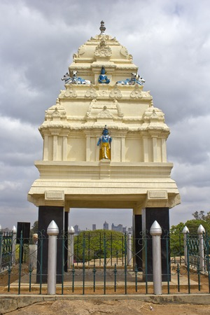 monument in india: FEBRUARY 25, 2014, BANGALORE, KARNATAKA, INDIA - Monument of the founder of BNangalore Kempe Gowda in the park Lal Bagh