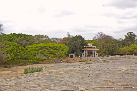 FEBRUARY 25, 2014, BANGALORE, INDIA - Popular park Lal Bagh in Bangalore, view to Japanese garden