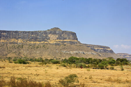 Indian landsape, rocky hill in the state Maharashtra Stock Photo