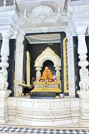 acharya: FEBRUARY 27, 2014, VRINDAVAN, UTTAR-PRADESH, INDIA - Inside the Bhaktivedanta Swami Prabhupada samadhi or mausoleum at the temple of Krishna-Balaram. Shrila Prabhupada (1896-1977) was the ISKCON founder-acharya.