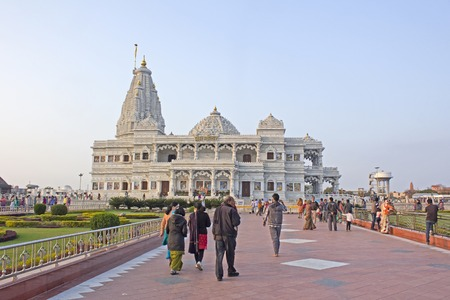 prem: FEBRUARY 27, 2014, VRINDAVAN, UTTAR PRADESH, INDIA - People comes to Prem Mandir or Temple of Love