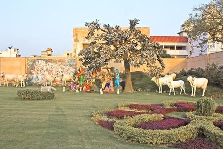 prem: FEBRUARY 27, 2014, VRINDAVAN, UTTAR PRADESH, INDIA - Radha, Krishna and eight gopis or Ashta-Sakhi, sculpture composition close to Prem Mandir or Temple of Love