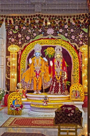 prem: FEBRUARY 27, 2014, VRINDAVAN, UTTAR-PRADESH, INDIA - Deities of Sita and Rama in the Prem Mandir or Temple of Love Editorial