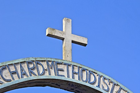 methodist: Christian cross at the entry to the christian methodist church in Vrindavan
