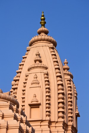 dome of hindu temple: Pink dome of the Hindu temple in Vrindavan Stock Photo