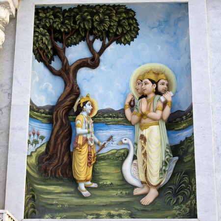 prem: MARCH 2, 2014, VRINDAVAN, UTTAR-PRADESH, INDIA - Image describes the hily pastimes of Lord Krishna or Krishna-lila on the wall of Prem Mandir or Temple of Love Editorial