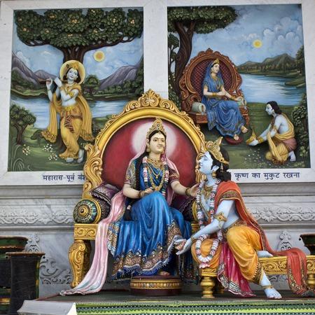 prem: MARCH 2, 2014, VRINDAVAN, UTTAR-PRADESH, INDIA - Sculpture of Radha and Krishna close to Prem Mandir or Temple of love Editorial