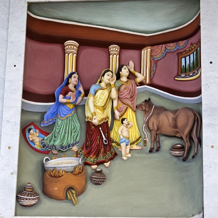 love image: MARCH 2, 2014, VRINDAVAN, UTTAR-PRADESH, INDIA - Image describes the hily pastimes of Lord Krishna or Krishna-lila on the wall of Prem Mandir or Temple of Love Editorial