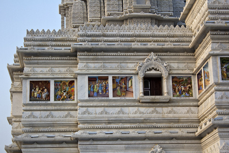 prem: MARCH 2, 2014, VRINDAVAN, UTTAR-PRADESH, INDIA - Detail of Prem Mandir or Temple of Love