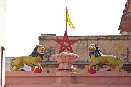 pith: MARCH 3, 2014, VRINDAVAN, UTTAR PRADESH, INDIA - Symbols of the Goddess Durga at the famous temple Katyayani Pith Editorial