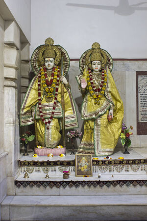 sita: MARCH 3, 2014, BETWEEN MATHURA AND VRINDAVAN, UTTAR PRADESH, INDIA - Shrine of Sita and Rama in Gita Mandir