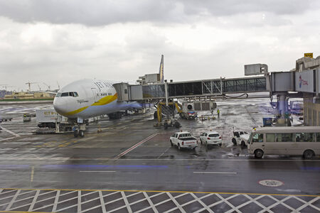 JANUARY 19, 2015, ABU DHABI, UAE - Airplane at the terminal in the Abu Dhabi airport