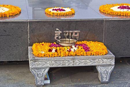 devanagari: JANUARY 20, 2015, NEW DELHI, INDIA - Detail of Mahatma Gandhi memorial at Rajghat Editorial