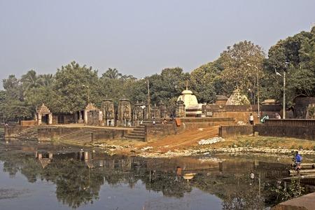 sagar: JANUARY 26, 2015, INDIA, ORISSA, BHUBANESHWAR - Shoshi ghat at the sacred lake Bindu Sarovar or Bindu Sagar