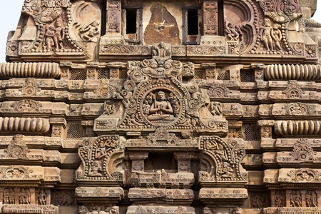 shakti: Detait of the ancient (8th century) Vaital Deul. This famous temple dedicated to the Goddess Kali
